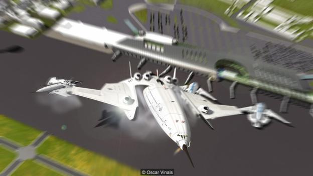 """由于安装了可移动式引擎,""""闪光猎鹰""""可以像直升机一样垂直起飞和降落。"""
