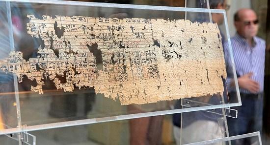 """此展览上展出的""""埃及最古老莎草纸"""""""