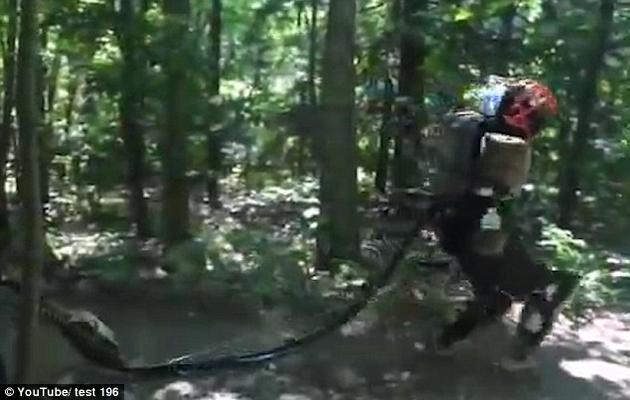 一名美国人在遛狗时,刚好遇上了波士顿动力公司的Atlas机器人,该机器人正在森林中进行测试。
