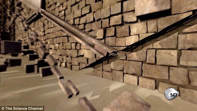 专家数字重建了胡夫墓室通道外的房间墙壁上的沟槽。