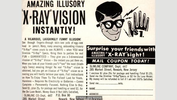 当年的一则广告,宣称这种特制眼镜能够看透人们的衣服——很显然这是虚假宣传