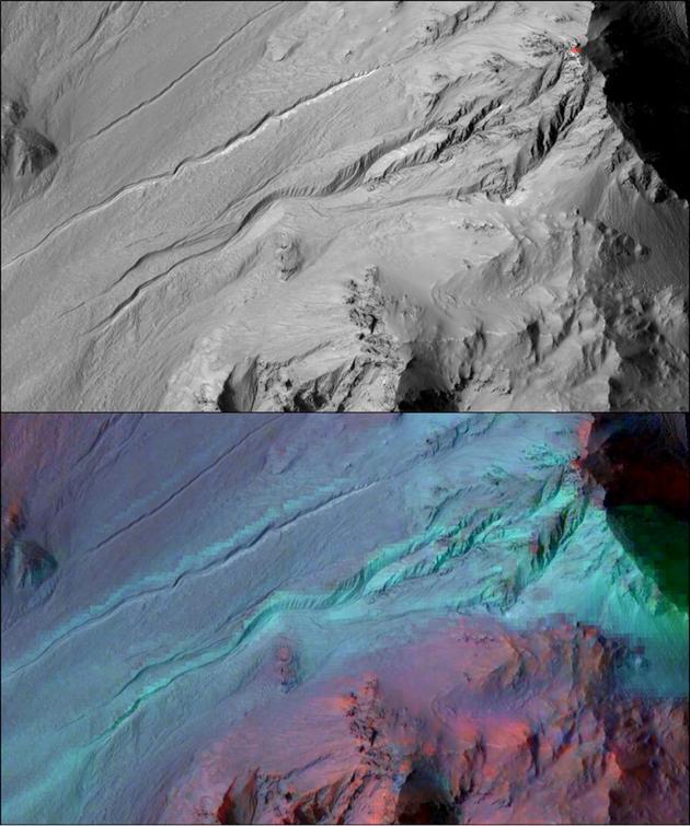 """火星表面同一块区域。上图为火星勘测轨道器(MRO)搭载的""""高分辨率成像科学实验""""(HiRISE)拍摄的可见光图像,下图为叠加了""""紧凑型勘测成像光谱仪""""(CRISM)光谱数据的同一区域图像"""
