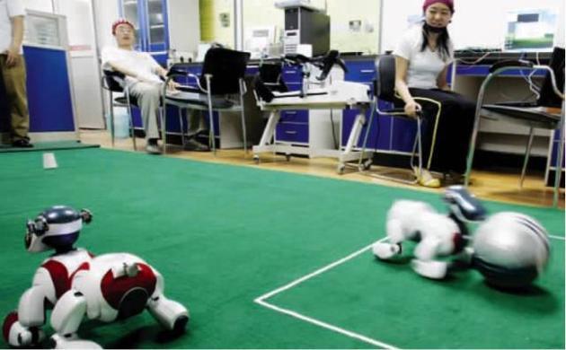 脑机接口控制机器狗踢足球