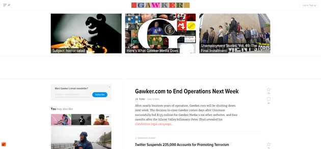 "Gawker.com宣布将于下周关闭:曾被视作媒体""黄埔军校"""