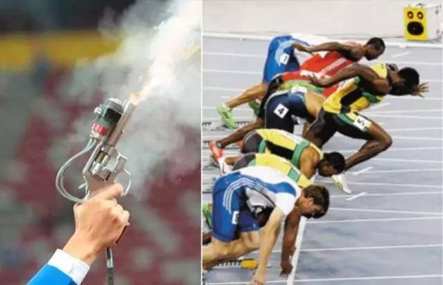 奥运会用的发令枪和起跑线旁的扩音器