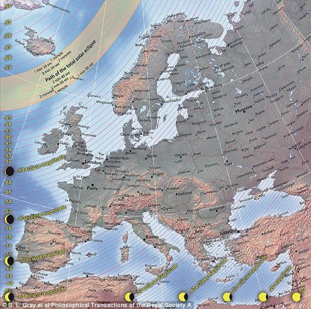 这张地图显示的是2015年3月的那场日食在欧洲不同地区能够看到的不同效果