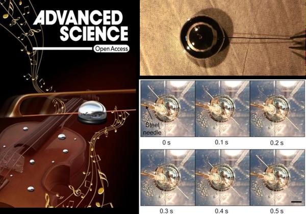图1 期刊封面故事及液态金属机器驱动的铜丝浸润与自激振荡现象