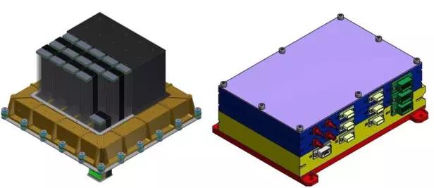 """""""天极""""望远镜的设计原理图。左:偏振探测器;右:电控箱"""