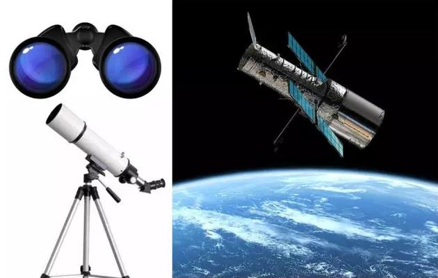 各种光学望远镜(左上:双筒望远镜;左下:天文爱好者常用的望远镜;右:哈勃空间望远镜)
