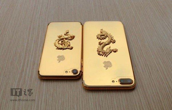 镀金版iPhone7问世:24K金+金龙+镶钻Logo