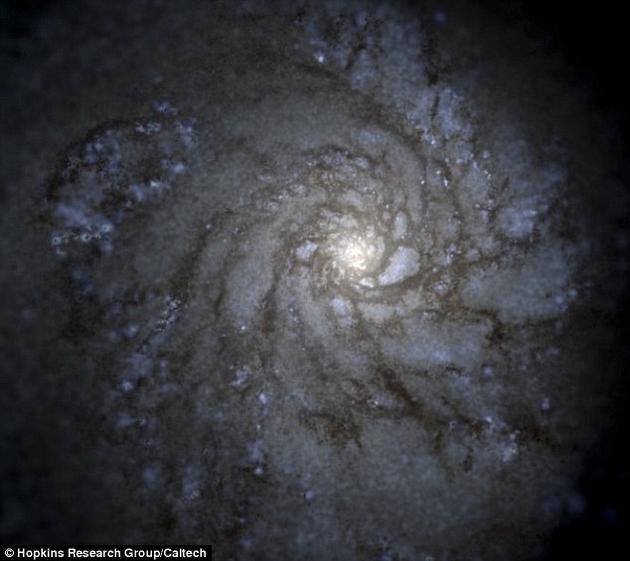 模拟出来的银河系图像。这是两千台计算机一起运算获得的结果。