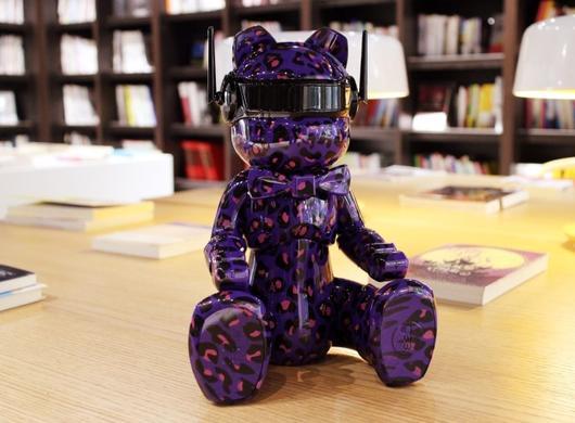 小熊路由器紫色豹纹款实拍