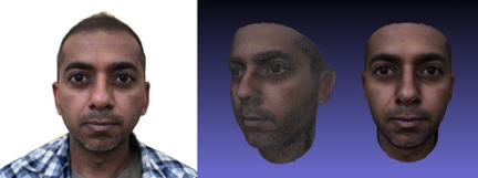 通过ObEN技术,用创始人之一Nikhil Jain的2D照片完成的3D模型