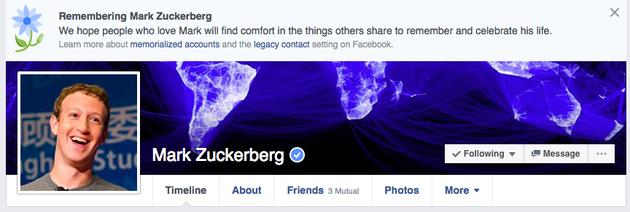 出现错误的扎克伯格Facebook主页
