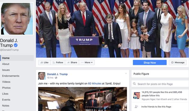 Facebook上有1461万粉丝