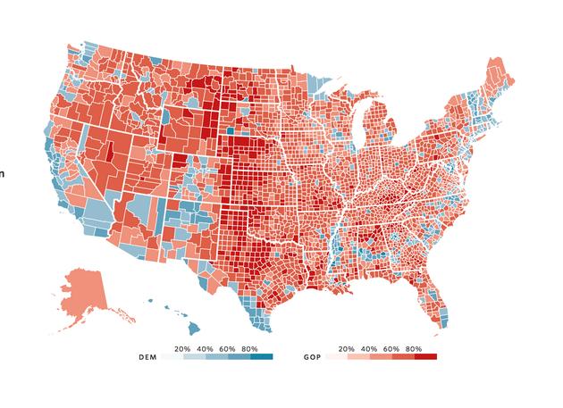 红色是特朗普获胜地区,蓝色是希拉里获胜地区