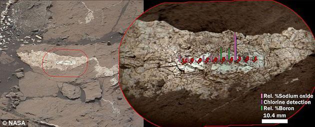 """这是一道名为""""Diyogha""""的硫酸钙矿脉,好奇号火星车使用其矿物化学分析设备ChemCam对其成分进行了检测。左侧图像由好奇号桅杆相机拍摄,显示矿脉所处环境,该泥岩岩层位于夏普山山麓"""