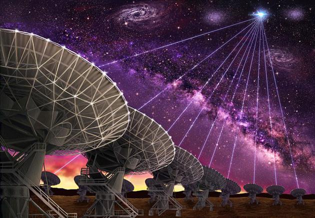 艺术构想图:大约在10年前,天文学家首次探测到一种罕见、短暂的宇宙射电波爆发。近日,美国天文学家终于定位到这种神秘信号的来源,它来自30亿光年外的一个矮星系。