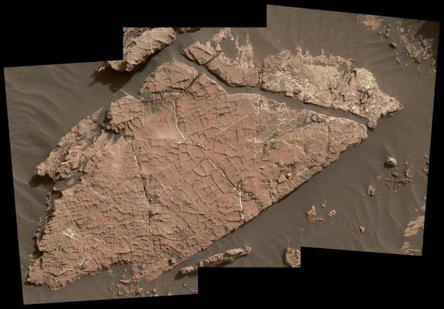 """好奇号火星车发现了一块布满交叉裂纹的岩石,研究者认为,这些脊状裂纹很可能就是泥裂(或称""""干缩裂缝"""")。"""