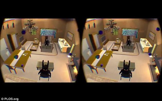 """研究人员先让受试者戴上虚拟现实头盔、让他们误以为虚拟身体是自己的身体。然后让他们的视角离开虚拟身体,模仿""""灵魂出窍""""的感觉。"""