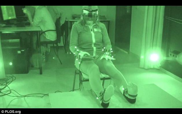 使用者的手脚均佩戴了动作传感器和振动元件。这可以让使用者误把虚拟的身体当成自己实际的身体。