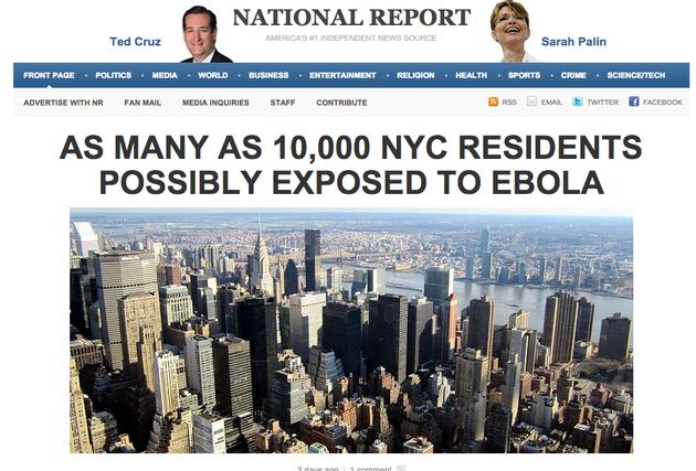 社交媒体上曾疯传这样一则假新闻:纽约有1000位居民曾暴露在埃博拉病毒中