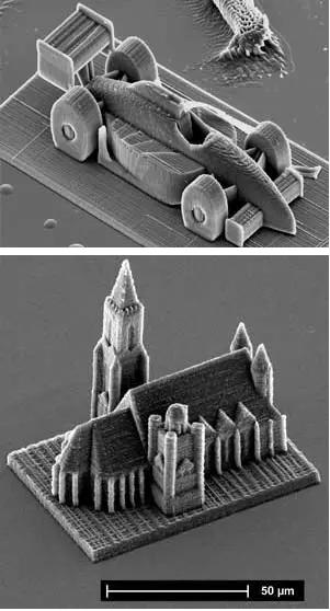 利用双光子激光直写技术制作的赛车和房屋模型(https://www.photonics.com/Article.aspx?PID=1&VID=101&IID=615&AID=50848)