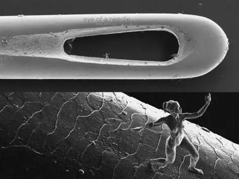 双光子激光直写技术制作的世界最小的人体雕塑(http://www.jontyhurwitz.com/nano)