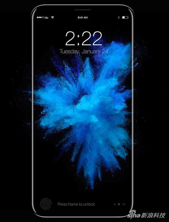 网络传言iPhone 8会把指纹识别放在玻璃屏幕下面