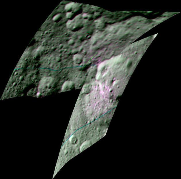 """这张图像是由""""黎明""""号探测器""""可见光与红外成像光谱仪""""(VIR)获取的Ernutet陨坑及其周边区域色彩增强合成图像。同样可以看到,有机物分布区域颜色比周边其他区域更加偏红"""