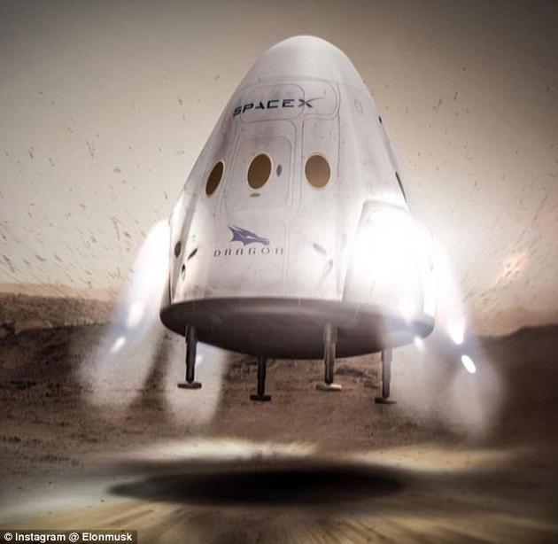 """着陆火星!一艘正在降落中的""""龙""""飞船概念图"""