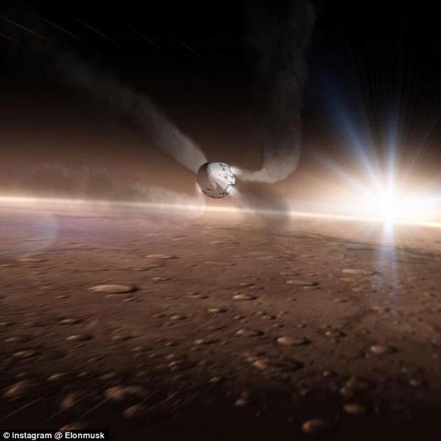 """SpaceX公司展示的宣传概念图,这里可以看到正在朝火星表面降落的""""龙""""飞船"""
