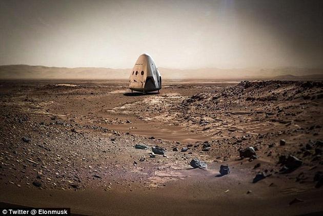 """效果图:停在火星表面的SpaceX""""龙""""飞船。这艘飞船将把美国宇航局""""2020火星车""""采集的样本带回地球"""