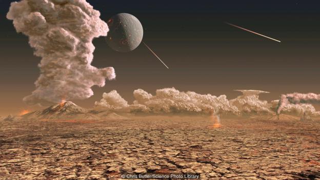 地球形成初期常常遭到陨石撞击。
