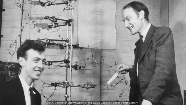 图为詹姆斯·沃森与弗朗西斯·克里克和他们的DNA模型