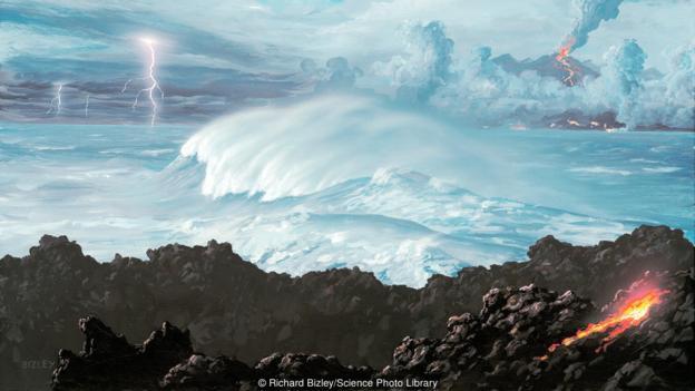 地球温度降低后,便形成了海洋