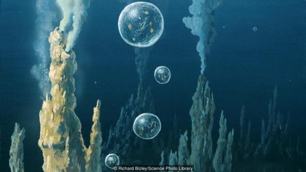 图为细胞从热泉中逃逸的情景。