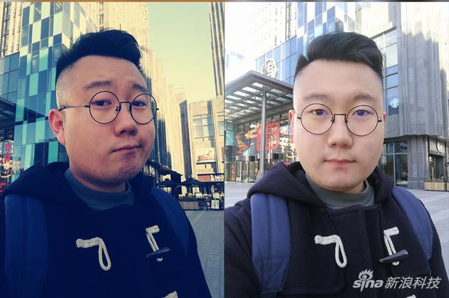 左:前置自拍濾鏡 右:前置人像模式自拍