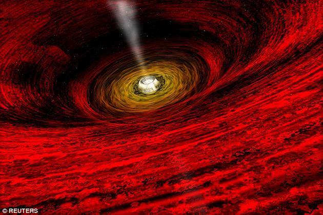 科学家首次对来自黑洞内部的强风进行了温度测量,揭示出黑洞风会在数小时内发生剧烈的温度变化。图中是这一过程的艺术想象图。