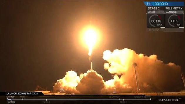 2017年3月16日,携带回声星-23通信卫星的猎鹰9号火箭发射升空