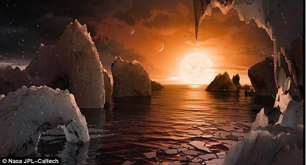 恒星 Trappist-1是一颗低温矮星,但它周围至少有7颗类地行星围绕它运行。这张示意图显示一颗满是冰和水的行星围绕着这颗小质量恒星公转