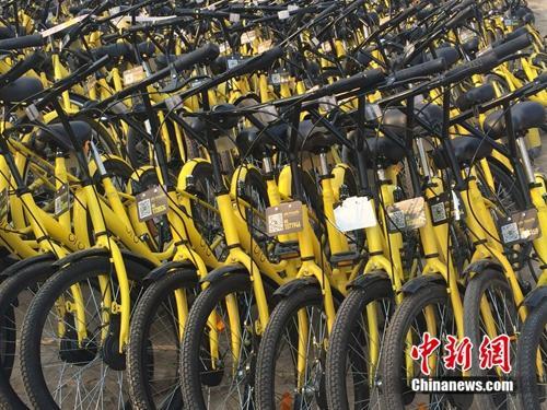 在共享单车维修点,很多共享单车二维码被涂损。中新网 吴涛 摄