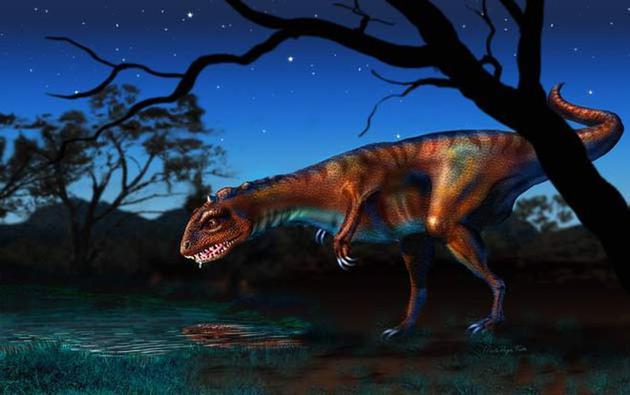 图为属于兽脚亚目恐龙的君颅龙想象图,这种恐龙有着与鸟类相似的呼吸系统。