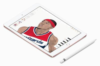 苹果展示了用iPad Pro绘制的NBA球星画像