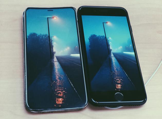 (全面屏和 iPhone 7 視效對比)