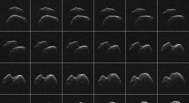 小行星2014 JO25的图像,由NASA位于莫哈韦沙漠的金石太阳系雷达的数据合成,发布于2017年4月18日