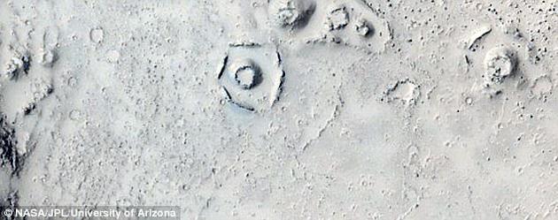 """這並不是懷疑論者第一次聲稱發現了火星上存在城市的證據。他們曾經發布過一段視頻,證明""""其中一些航拍景觀看起來很像是被侵蝕的圓屋頂,周圍環繞着一圈圈圓形線圈。"""""""