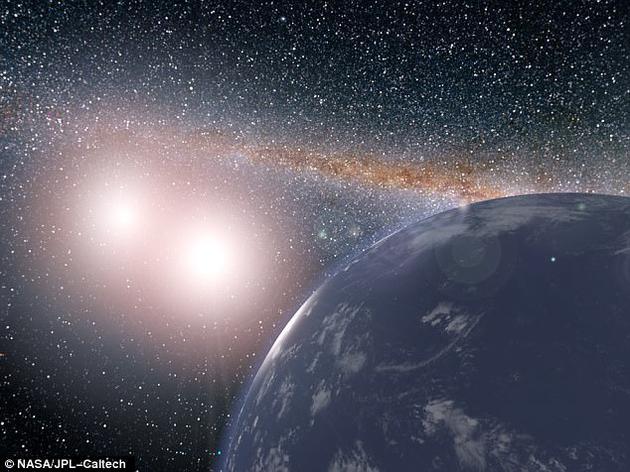 """科学家发现了一处类似《星球大战》中""""塔图因""""的双星系统,但与电影中贫瘠、荒芜的景象不同,围绕该双星旋转的行星也许不仅宜居,甚至还储有液态水。图为双星系统""""开普勒-35""""(Kepler-35)中假想行星的概念图。"""