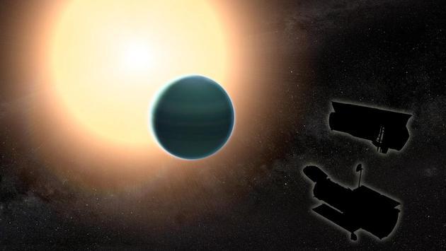 通过结合哈勃太空望远镜和斯皮策太空望远镜的观测数据,研究人员发现HAT-P-26b大气层非常原始,是由氢和氦构成。同时,天文学家还探测到该行星大气层中水蒸汽和奇特云层的相关证据