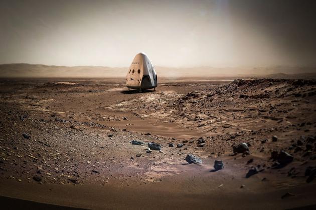 红龙号太空船登陆火星的概念图